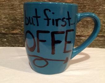 Teal mug, coffee mug, personalized coffee mug, expression mug