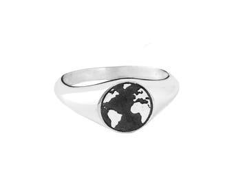 WORLD BALL handmade sterling silver SEAL ring