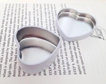 Heart Shape Metal Tins In White, 20ml Small Lip Balm Tin, Small Jewelry Box, Small Storage Box, Cute Tins (A Set Of 50 Tin Boxes)