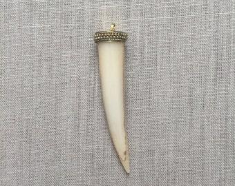 Ivory Round Bone Tusk, White Round Bone Tusk, Gold Capped Bone Tusk