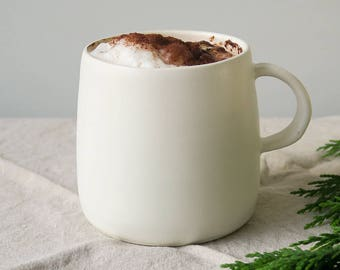 Chalk mug - ceramic mug - satin matt white mug- hand made pottery - large cup - stoneware - matt glaze - porcelain - tea mug - coffee mug
