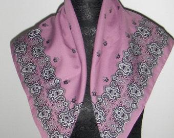Morelli vintage scarf/ Head scarf/ Purple paisley scarf/ Retro scarf