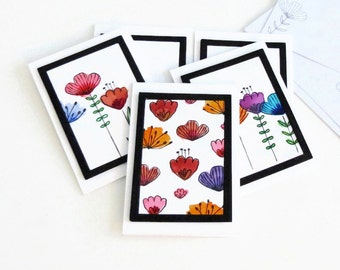 Handmade Card Set,  Watercolor Flowers, Thank You Cards, Birthday Cards