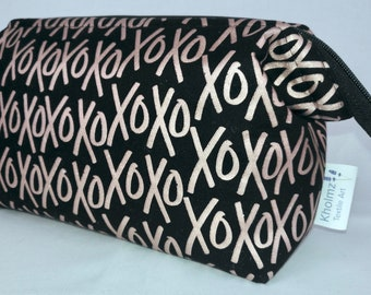 Black and Rose Gold X's and O's Cosmetic, Travel, Toiletry, Craft,  Retreat Bag.