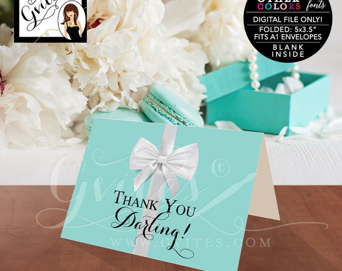 """Thank You Darling Breakfast at blue theme bridal shower, baby birthday sweet 16. Digital file only.  5x3.5"""" 2 Per/Sheet"""