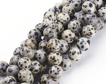 8mm Natural Dalmatian Jasper Beads Round 8mm Dalmatian Jasper 8mm Dalmatian Beads 8mm Gemstone Round Gemstone Mala