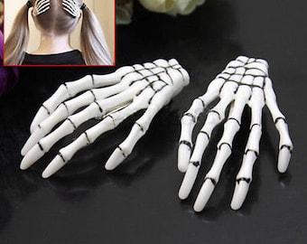 Skeleton Hand Hair Clips Set of 2