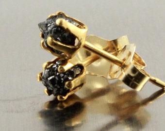 Rough Diamonds Studs - 14K Gold Filled Post Earrings, 3.5mm - Raw Diamonds - April Birthstone