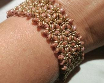 Womens bracelet Beaded bracelet Ethnic bracelet. Superduo bracelet Autumn tones