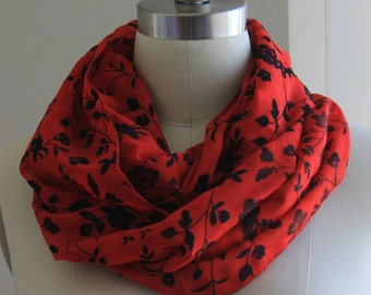 Floral Infinity Scarf, Embossed Flower Design, Black and Red, Chiffon