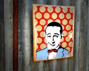 Per Wee Mixed Media Graffiti Art Painting on Photo Transfer Original Art on Handmade Canvas Home Decor Pop Art Gallery Pee Wee Herman