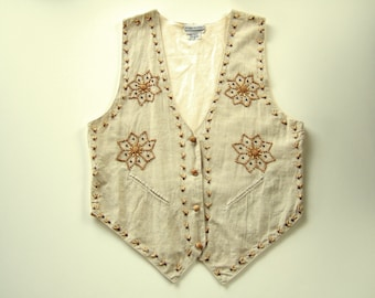 Fun Boho Hippie Style Women's Vest Flower Power Beaded Linen Vest East Indian Ethnic Clothing Cool Gift Unusual Gift for Her