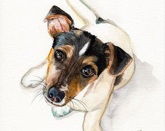 Dog puppy Jack Russel terrier begging  Fine art Print FROM original watercolor by Jennifer Redstreake