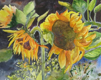 Sunflower painting Watercolor art Sunflower watercolor Flowers watercolor Original painting  Painting floral Watercolor flowers Wall art