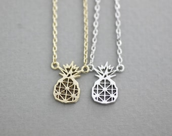 Cute Cut-Out Pineapple pendant necklaces ,tropical fruit jewelry,