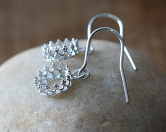Gallery Bezel Crown Setting Earrings in Sterling Silver 8 mm, Ready to be Set with Your Own Stones, Princess Crown Earring Blanks, Supplies
