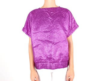 80s GLITTER / Metallic Purple Lamé Foil Tinsel Short Sleeve Boxy Tee / T Shirt Disco Top
