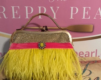 Bright Fun Summertime Yellow Ostrich Feather Evening Bag