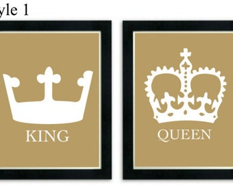 King and Queen Art Prints, His and Her Crowns, Modern Wall Decor, Couples art print