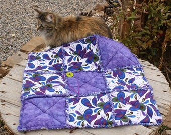 Cat Blanket, Purple Cat Blanket, Cat Quilt, Cat Accessories, Dog Accessories. Handmade Pet Blanket, Fabric Cat Quilt, Travel Pet Bed, Catnip