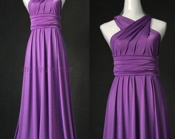 Bridesmaid Dress Infinity Dress Full Length Wrap Convertible Dress Evening Purple Maxi Dress