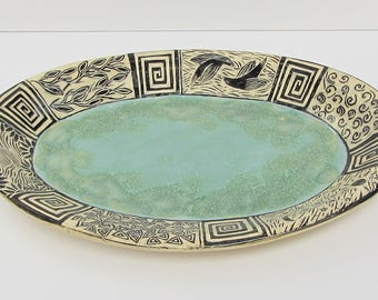 ceramics and pottery serving plate; ceramic serving plate; ceramic art; sgraffito pottery; hand built pottery
