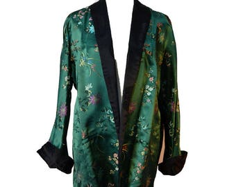Vintage Chinese Smoking Jacket Unisex Jacket Robe