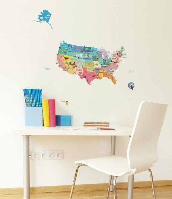 USA Map Wall Decal Sticker USA Map Sticker United States - Us map wall decal