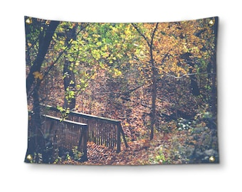 Woodland Wall Tapestry, Tapestry Wall Hanging, Nature Tapestry, Autumn Photo Tapestry, Boho Wall Hanging, Bohemian Dorm Room Wall Decor