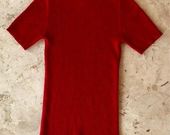 Vtg 1980's Chanel Boutique red cashmere ribbed mock turtleneck logo buttons