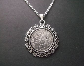 British Sixpence Coin Necklace -  British Six Pence Coin Pendant in Pendant Tray- 1965 British Six Pence Coin Necklace