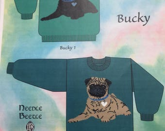 Knitting Sweater Pattern for crew neck sweater with Pug Puppy Dog design