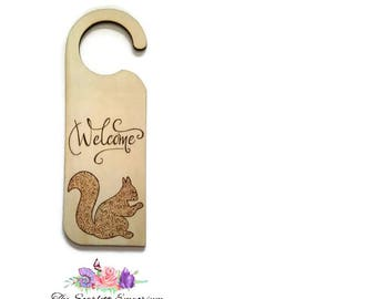 Hand Drawn Woodburnt Pyrography Welcome Door Sign Woodland Squirrel Animal Home Decor