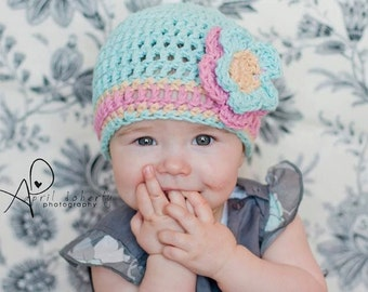 Crocheted Cotton Beanie with flower for newborn baby, aqua colored hat with pink trim, handmade cloche hat for baby girl, kidlid