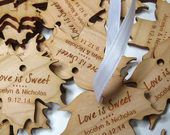 2 x 2 Maple Syrup Tags - Custom Wedding Tags - Wood Wedding Tags