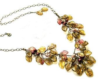 Pink and Brown Bib Necklace,  Brown Statement Necklace, Golden Brown Leaf Necklace, Floral Jewelry, Nature Jewelry,
