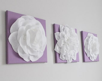 "Baby Girl Nursery - Wall Decor - Large White Dahlias and Rose on Lilac, Lavender 12 x 12"" Canvases Purple Baby Nursery Art, Purple Wall Art"