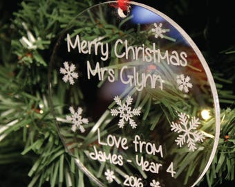 Personalised Snowflake Christmas Tree Decoration | Engraved Teacher's Gift