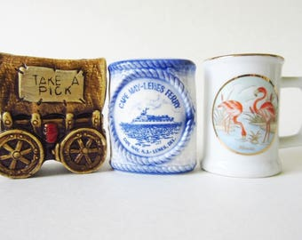Toothpick Holder Ceramic Souvenir Lot of 3, Vintage Covered Wagon, Japan Cape May Lewes Ferry, Lefton Florida Flamingos