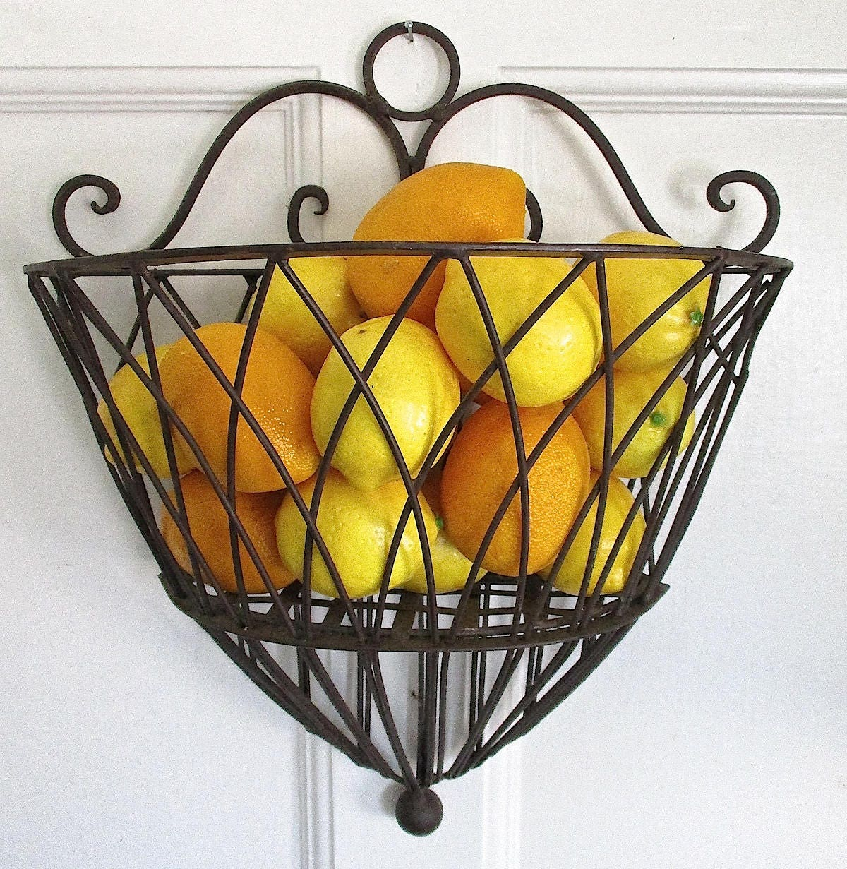 Vintage Country French Style Wrought Iron Wall Basket