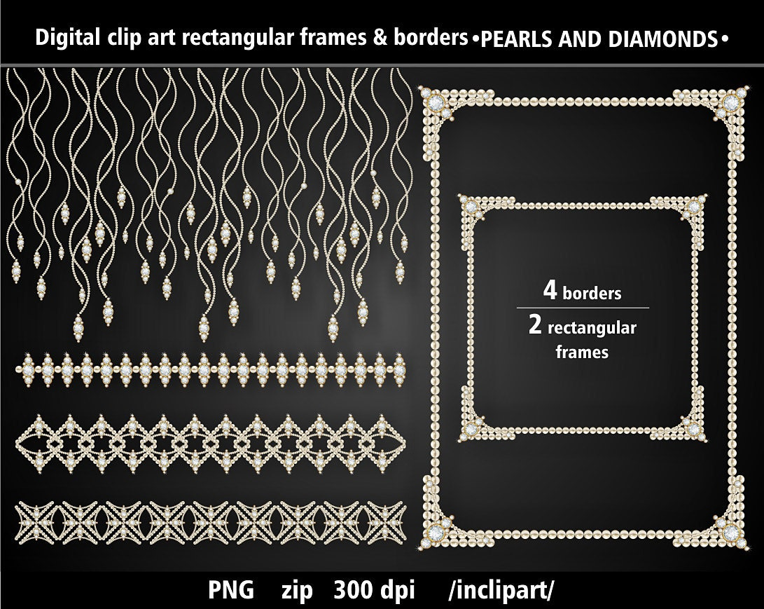 Set of pearl and diamond frames and borders clip art. Digital ...