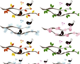 Birds On a Limb - Ceramic Decals- Enamel Decal - Fusible Decal - Glass Fusing Decal ~ Waterslide Decal - 48405
