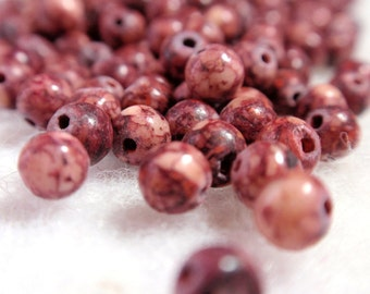 Tiny Round Gemstone Beads Burgundy and Taupe Color Veined Matte Finish A1