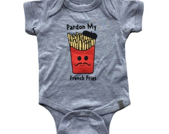 Pardon My French Fries // Moustache // Baby Bodysuit Grey Onesie One Piece // Unisex Kids // French Theme // Gender Neutral // November