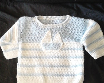 Adorable Infant Crochet Sailboat Sweater and Pants Set