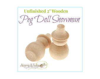 Wooden Snowman Peg Doll, Unfinished, Waldorf Toys, Wood Craft Supply, Montessori Supplies, DIY Christmas Toy, DIY Christmas Decor