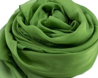Forest Green Silk Scarf - Green Silk Chiffon Scarf - AS236