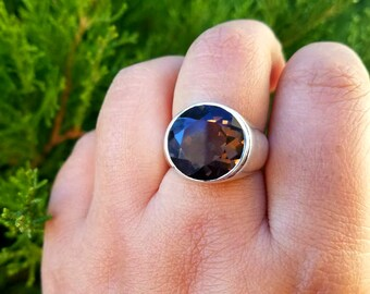 Mens Ring - Smoky Quartz Ring - Brown Quartz Mens Ring - Smoky Quartz Jewelry- Mens Jewelry -  Silver Statement Ring
