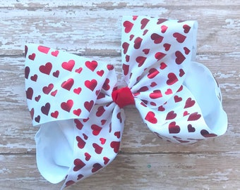 Valentine's Day hair bow, 7 inch bows, large hair bows, heart hair bows, big bows, red bows, red hair bows,