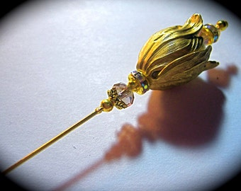 Art Nouveau hatpin shawl pin Art Deco hat pin 1920s vintage style LONG tulip flower Victorian hat pin hatpin 6 inches